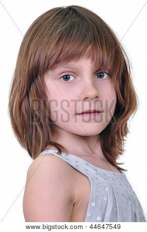 Elementary Age Girl Looking At Camera