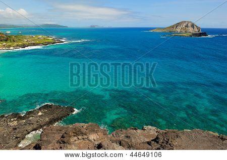 Pacific Ocean Water Off The Coast Of Oahu In Hawaii