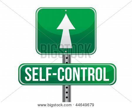 Self Control Road Sign Illustration Design