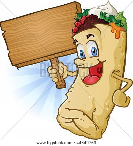Burrito Character Holding A Sign