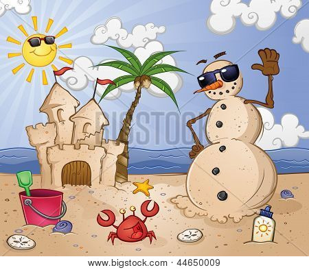 Sand Snowman Cartoon Character on a Tropical Beach