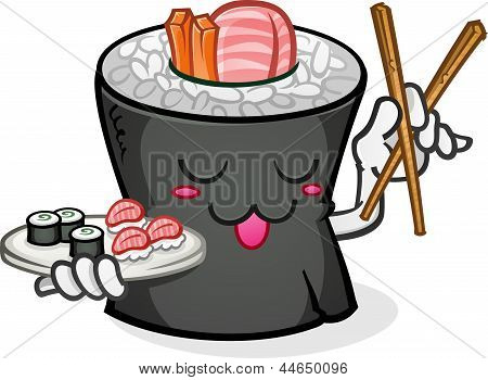 Sushi Character Serving A Plate with Chop Sticks