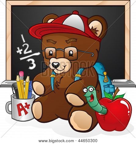 Teddy Bear Character Going Back To School