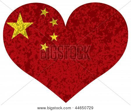 China Flag Heart Shape Textured