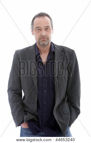 Attractive Middle Aged Man Isolated On White