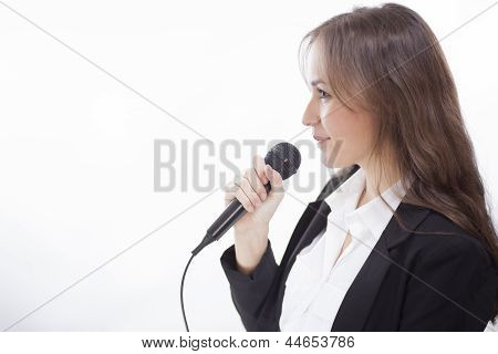 Business woman giving a speech
