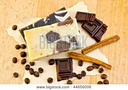 Soap Homemade With Chocolate And Coffee On Paper