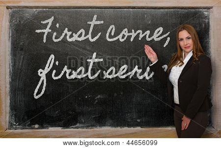 Teacher Showing First Come, First Served On Blackboard