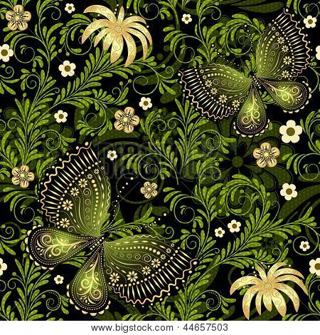 Spring Green-gold Seamless Pattern