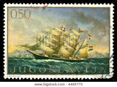 Jahrgang Briefmarke mit einem Segelschiff