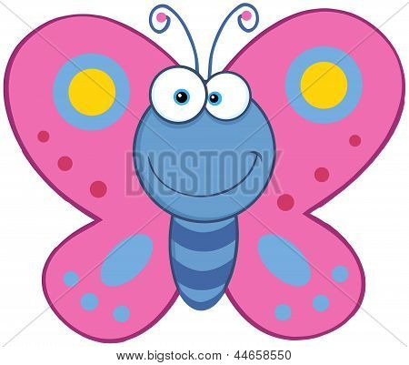 Smiling Butterfly Cartoon Character