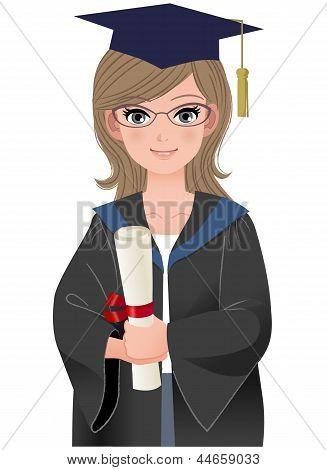 Cute Female Graduate In Academic Dress