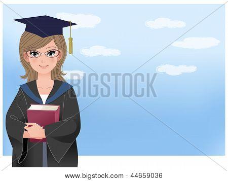 Happy Graduating Student Holding Disloma Against Blue Sky
