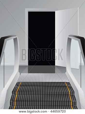 Escalator Before The Black Doorway