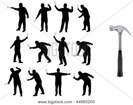 Man With Hammer Silhouettes