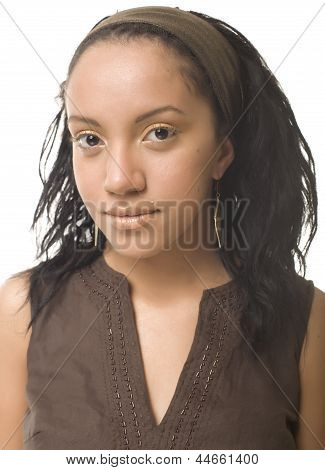 close up portrait of beauty young afro woman with black skin isolated on white background