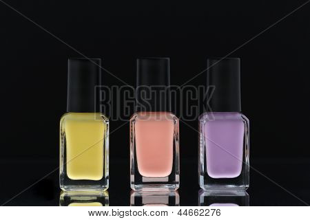 Nail polish bottles pastel colours