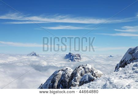 View Over Mountains Above Clouds