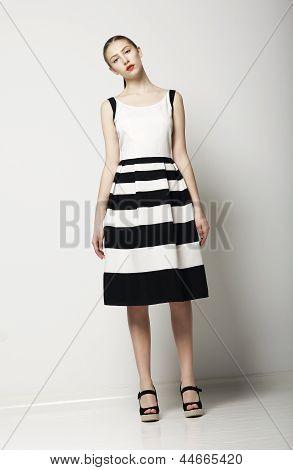 Elegant Woman Fashion Model In Light Striped Cotton Sundress. Vogue Style