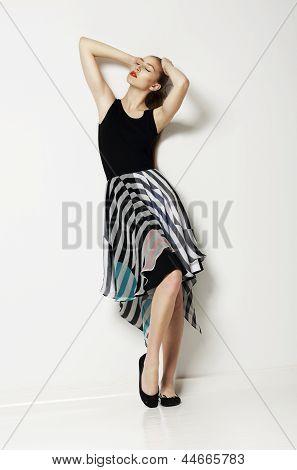 Springtime Seasonal Design. Caucasian Sensual Woman Wearing Casual Clothes