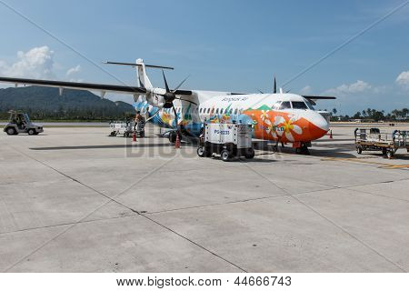 Bangkok Air Aircraft Is Preparing For Boarding And Flight