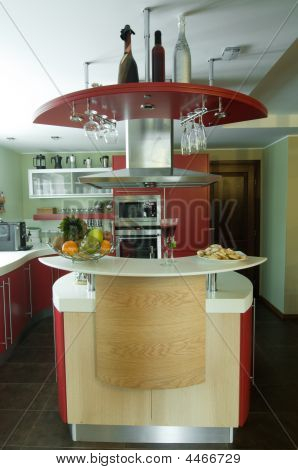 Red Modern Kitchen. Interiors.