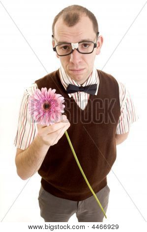 Serious Geeky Guy With Flower