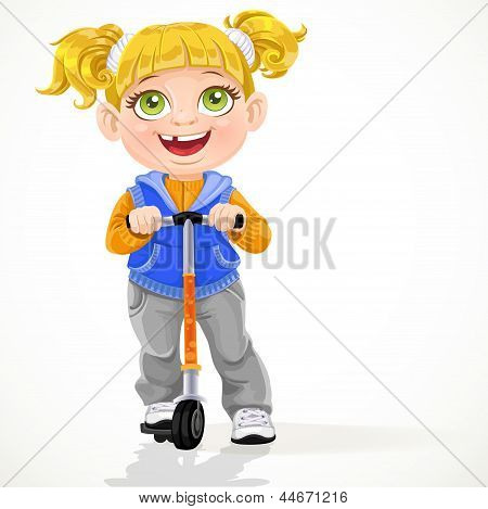Little girl with pigtails on scooter isolated on a white background
