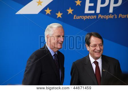 Michel Barnier and Nicos Anastasiades