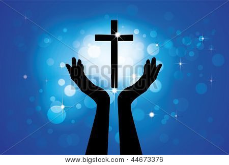 Person Praying Or Worshiping To Holy Cross Or Jesus- Vector Graphic