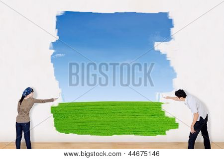 Asian Couple Paint Outdoor Field