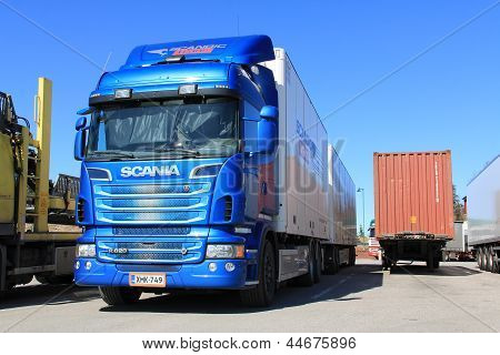 Blue Scania Truck R620 And Trailer