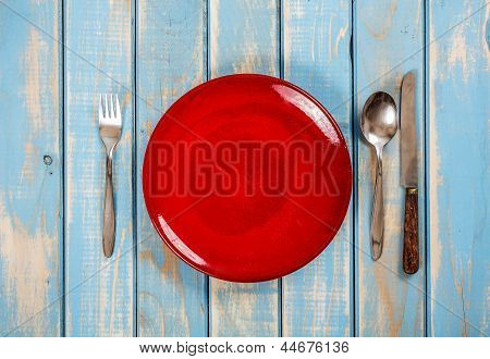 Empty Red Plate