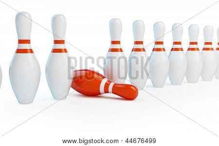 Row Skittles Bowling On A White Background