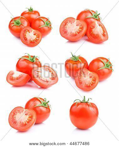 Set frischen Tomaten roten Früchten isoliert auf weißem Hintergrund