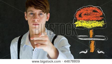 Your Country Needs You Nuclear War Man Concept Blackboard Background