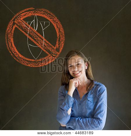 No War Pacifist Business Woman, Student, Teacher Or Politician On Blackboard Background