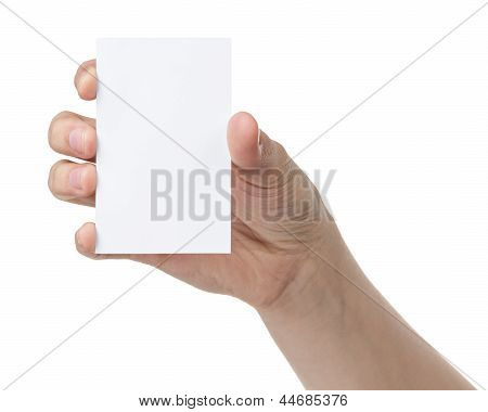 Female Teen Hand Holding Blank Paper Card With Two Fingers