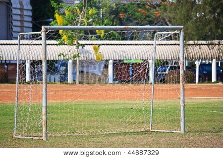Goal On Soccer Field Close Up