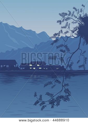 Vector Illustration Of Village On The Bank Of Lake In The Evening