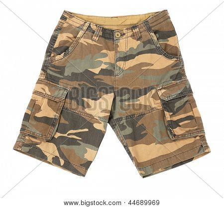 Shorts with military pattern on white background