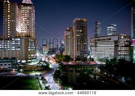 Cityscape of jakarta at night, Java island, Indonesia.