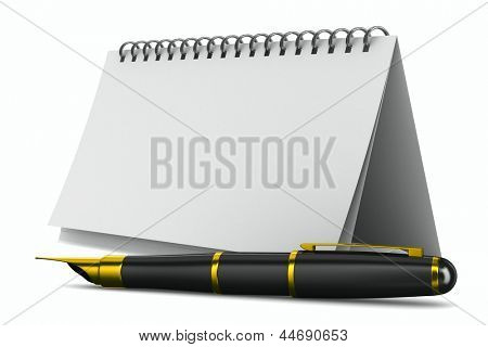 Notebook and pen on white background. Isolated 3D image