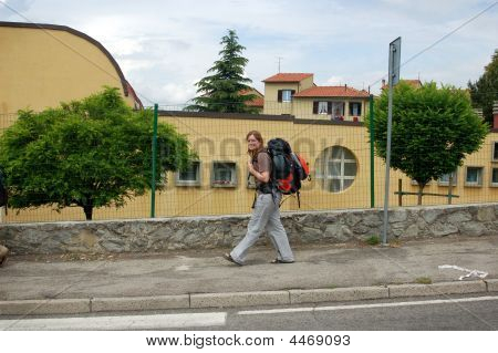 Woman Backpacking In Europe