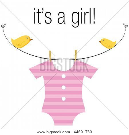 An image of a baby girl pink onesie hanging on a clothesline with birds.
