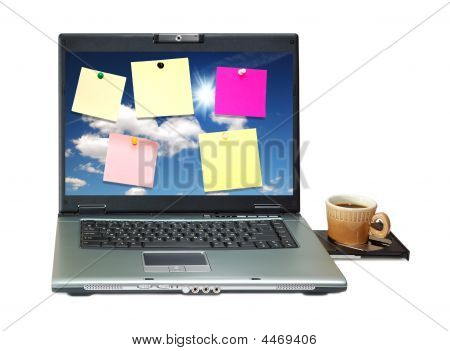 Notebook With Colored Notes On Monitor