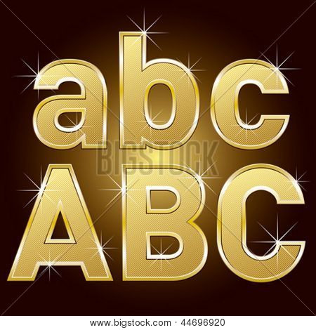 Vector set of golden letters and numbers big and small
