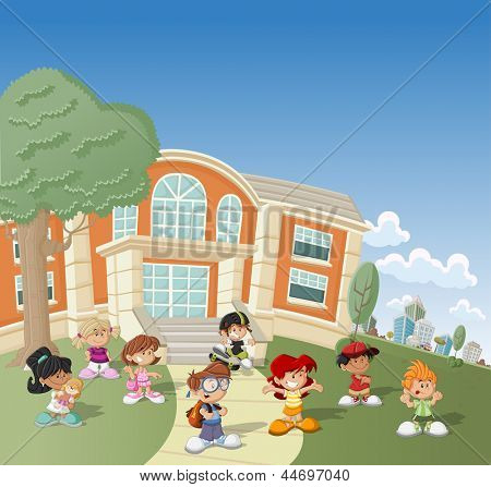 Group of happy cartoon children in front of school