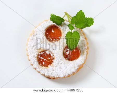 linzer cookie filled with jam