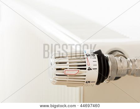 Closeup of heating radiator thermostat